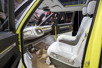 10-01-2017 - Detroit, Michigan, Volkswagen I.D. Buzz concept vehicle, North American International Auto Show. The remake of the classic VW microbus is an electric self driving vehicle. The steering wheel retracts... © Jim West