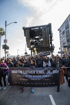 16-01-2017 - San Francisco, California, USA March celebrating the birthday of Rev. Martin Luther King Jr. Workers from 15 tech companies in the march celebrating the birthday of Rev. Martin Luther King Jr. Twitter... © David Bacon