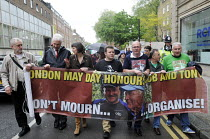 01-05-2014 - Lives of Socialists Bob Crow and Tony Benn honoured, May Day march, 2014, London. Don't Mourn, Organise! © Stefano Cagnoni