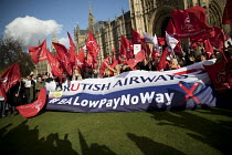 07-02-2017 - Striking British Airways cabin crew lobby Parliament in a dispute over low pay, Westminster, London © Jess Hurd