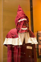 17-01-2017 - Cincinnati, Ohio replica of an early Ku Klux Klan robe used soon after the Civil War. National Underground Railroad Freedom Center museum of the history of slavery and the underground railroad © Jim West