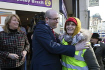 13-02-2017 - Paul Nuttall UKIP hugging a supporter, By Election, Stoke on Trent Central, Staffordshire © John Harris