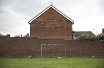 25-09-2016 - Improvised painted football goal posts, Toxteth, Liverpool. © Jess Hurd