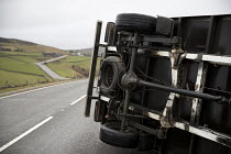 23-02-2017 - Storm Doris overturns high sided vehicles on a high pass nr Flash in the Peak District National Park, Staffordshire. © Jess Hurd
