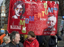 04-03-2017 - It's Our NHS, National Demonstration to defend the NHS, London. Musicians for MOMENTUM Banner being carried bearing the images of John Lennon and Jeremy Corbyn © Stefano Cagnoni