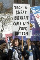 04-03-2017 - It's Our NHS, National Demonstration to defend the NHS, London. Tech is cheap but an App can't wipe your bottom © Stefano Cagnoni