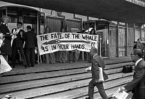 21-06-1976 - FOE lobby of delegates to the International Whaling Commission to Save the Whales, London 1976. To demand the end of commercial whaling by Russia and Japan © NLA