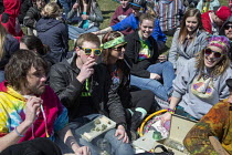 04-04-2015 - Ann Arbor, Michigan - The annual Hash Bash at the University of Michigan, where a lot of marijuana is smoked and protesters call for its legalization. © Jim West