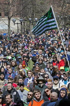 01-04-2017 - Ann Arbor, Michigan USA. Thousands attended the annual Hash Bash a 45-year tradition advocating the legalization of marijuana, University of Michigan © Jim West