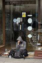 30-04-2017 - Homeless on th street, closed shop doorway, Stratford upon Avon, Warwickshire © John Harris