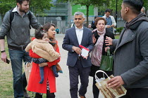 06-05-2017 - Tulip Siddiq with her daughter Azalea and London Mayor Sadiq Khan launching her general campaign for Hampstead and Kilburn, the tenth most marginal Labour parliamentary seat in the UK. Swiss Cottage,... © Philip Wolmuth