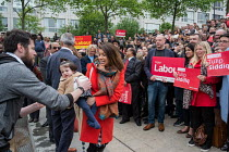 06-05-2017 - Tulip Siddiq with her daughter Azalea launching her general campaign for Hampstead and Kilburn,, the tenth most marginal Labour parliamentary seat in the UK. Swiss Cottage, London. © Philip Wolmuth