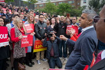 06-05-2017 - London Mayor Sadiq Khan. Tulip Siddiq launching her general campaign for Hampstead and Kilburn, the tenth most marginal Labour parliamentary seat in the UK. Swiss Cottage, London. © Philip Wolmuth