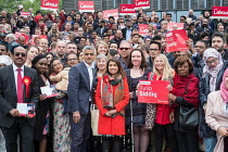 06-05-2017 - Tulip Siddiq and London Mayor Sadiq Khan and supporters launching her general campaign for Hampstead and Kilburn, the tenth most marginal Labour parliamentary seat in the UK. Swiss Cottage, London. © Philip Wolmuth