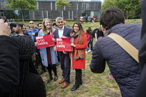 06-05-2017 - Tulip Siddiq and London Mayor Sadiq Khan launching her general campaign to retain Hampstead and Kilburn, the tenth most marginal Labour parliamentary seat in the UK. Swiss Cottage, London. © Philip Wolmuth