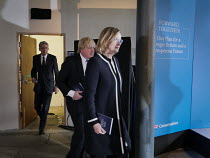 18-05-2017 - Philip Hammond, Boris Johnson and Amber Rudd, Conservatives manifesto launch, Dean Clough Mills, Halifax, Yorkshire, 2017 General Election campaign © Mark Pinder