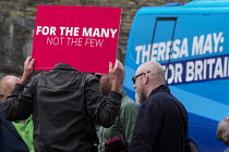 18-05-2017 - Anti Conservative Party protest outside Conservatives manifesto launch, Dean Clough Mills, Halifax, Yorkshire, 2017 General Election campaign © Mark Pinder