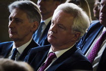 18-05-2017 - David Davis and Philip Hammond (L), Conservative Party manifesto launch, Dean Clough Mills, Halifax, Yorkshire, 2017 General Election campaign © Mark Pinder