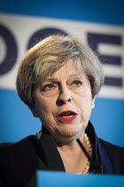 18-05-2017 - Theresa May speaking, Conservative Party manifesto launch, Dean Clough Mills, Halifax, Yorkshire, 2017 General Election campaign © Mark Pinder