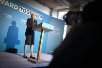 17-05-2017 - Theresa May speaking, Conservative Party manifesto launch, Dean Clough Mills, Halifax, Yorkshire, 2017 General Election campaign © Mark Pinder