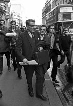 10-12-1972 - James Goad speaking to the press outside the National Industrial Relations Court, London 1972. In a provocation to the unions, he applied to the court after his local branch of the AUEW in Suffolk had... © Martin Mayer