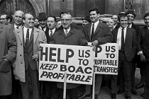 21-12-1971 - Workers from British Overseas Airways Corporation (BOAC) lobbying parliament against the proposed merger with British European Airways, London 1971. Merger did take place in 1974 when British Airways... © NLA