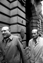 12-04-1972 - Bosses of Heatons Transport Ltd, Liverpool, leaving the National Industrial Relations Court, after getting a judgement against the TGWU, 1972. The union was fined 5,000 for contempt and then another 5... © Peter Arkell