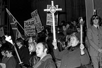 12-12-1971 - Nationwide Festival of Light protest at St Pauls Communion event joined by the National Front - both condemning the musical Hair as a moral disgrace, London 1971 © NLA