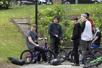 03-06-2017 - Teenagers, BMX bikes and helmets, Nottingham © John Harris