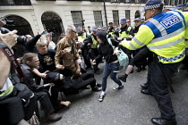 24-06-2017 - Police scuffles with anti fascists opposing an English Defence League march London. © Jess Hurd