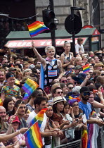 08-07-2017 - Pride 2017. Huge crowd at Piccadilly Circus watches the Gay Pride celebration and march London © Stefano Cagnoni