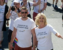 08-07-2017 - Pride 2017. Straight Mum with her Gay son at Gay Pride celebration and march London © Stefano Cagnoni