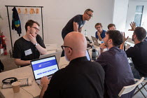 15-07-2017 - Momentum Hackathon. Collaborative election software development workshop, Shoreditch, London. © Philip Wolmuth