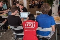 15-07-2017 - Momentum Hackathon. Facilitator at collaborative election software development workshop, Shoreditch, London © Philip Wolmuth