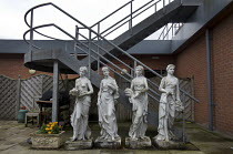 22-07-2017 - Four Seasons garden scuplture set and fire escape, Spring, Summer, Autumn and Winter. Each season is represented as an allegorical figure bearing traditional iconographic symbols. Wildmoor Spa And hea... © John Harris
