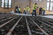 01-08-2017 - Detroit, Michigan, USA Volunteers in a community improvement project called Life Remodeled renovating the old Durfee school building for a new community center © Jim West
