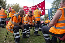 01-09-2017 - Birmingham council refuse workers go on strike against redundancies, Perry Barr Depot, Birmingham. Birmingham City Council want to save 600,000 a year by axing 113 grade three bin men and replacing th... © John Harris