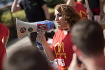 02-09-2017 - McDonalds worker Shen Batmaz speaking to rally outside McDonalds HQ ahead of a pay strike by workers, East Finchley, London. Fast Food Rights Campaign want &pound10 an hour, end to zero hour contracts... © Jess Hurd