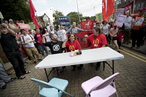 02-09-2017 - Shen Batmaz, Ian Hodson BFAWU, rally outside McDonalds HQ ahead of a strike by workers, East Finchley, London. Fast Food Rights Campaign want 10 pounds an hour, end to zero hour contracts and union ri... © Jess Hurd