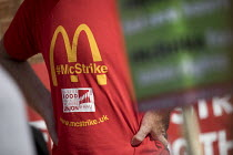 02-09-2017 - Rally outside McDonalds HQ ahead of a strike by workers, East Finchley, London. Fast Food Rights Campaign want 10 pounds an hour, end to zero hour contracts and union rights © Jess Hurd