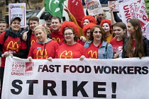 04-09-2017 - McDonalds workers strike rally, Westminster, London. Fast Food Rights Campaign want 10 pounds an hour, end to zero hour contracts and union rights © Jess Hurd