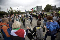 04-09-2017 - Stop DSEi arms fair protest prevents military vehicle entering ExCel centre London Stop Arming Israel. Defence Security and Equipment International exhibition. © Jess Hurd
