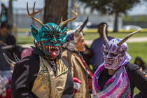 22-04-2017 - Greenfield, California, USA Dancers from Oaxaca, now living as migrants in the United States, performing the Danza de los Diablos, the Dance of the Devils, from the Mixteca region of Oaxaca, at a fest... © David Bacon