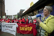 04-09-2017 - Louise Regan NUT NEU speaking, McDonalds workers strike, Crayford, South East London. Fast Food Rights Campaign want 10 pounds an hour, end to zero hour contracts and union rights © Jess Hurd