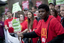 04-09-2017 - McDonalds workers strike, Crayford, South East London. Fast Food Rights Campaign want 10 pounds an hour, end to zero hour contracts and union rights © Jess Hurd