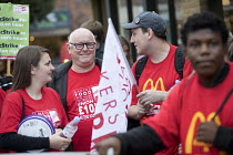 04-09-2017 - Ronnie Draper BFAWU, McDonalds workers strike, Crayford, South East London. Fast Food Rights Campaign want 10 pounds an hour, end to zero hour contracts and union rights © Jess Hurd