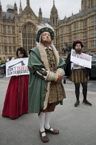 07-09-2017 - Campaigners dressed up in Tudor costume to protest against the EU Withdrawal Bill with controversial powers called Henry VIII clauses, organised by Another Europe is Possible, Westminster, London. Don... © Jess Hurd