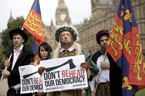07-09-2017 - Campaigners dressed up in Tudor costume to protest against the EU Withdrawal Bill with controversial powers called Henry VIII clauses, organised by Another Europe is Possible, Westminster, London © Jess Hurd