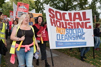23-09-2017 - Social Housing Not Social Cleansing. StopHDV protest against proposed privatisation of Haringey council estates, Tottenham, London © Philip Wolmuth
