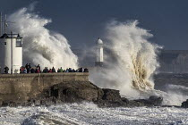 16-10-2017 - Waves from Storm Ophelia smashing into lighthouse and seawall, Porthcawl, South Wales © Paul Box